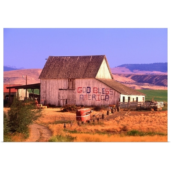 """Patriotic barn, God Bless America, Washington State"" Poster Print"