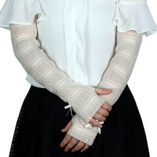 Women Outdoor Summer Cycling Driving Fingerless Sun Resistant Gloves Beige Pair