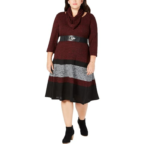 Signature By Robbie Bee Womens Plus Sweaterdress Belted Cowl Neck - 2X