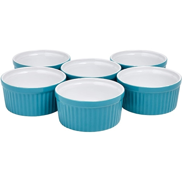 Bruntmor Ceramic Ramekins Souffle Dishes, Ramekins - 4 Ounce for Souffle, Creme Brulee and Dipping Sauces - Set of 6 for Baking. Opens flyout.