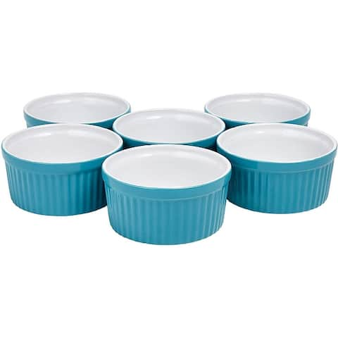 Bruntmor Ceramic Ramekins Souffle Dishes, Ramekins - 4 Ounce for Souffle, Creme Brulee and Dipping Sauces - Set of 6 for Baking