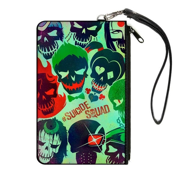 Suicide Squad 10 Stylized Character Faces Scattered Greens Multi Color Canvas Zipper Wallet