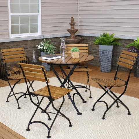 Sunnydaze European Chestnut Wood Folding Bistro Table and Chairs Set
