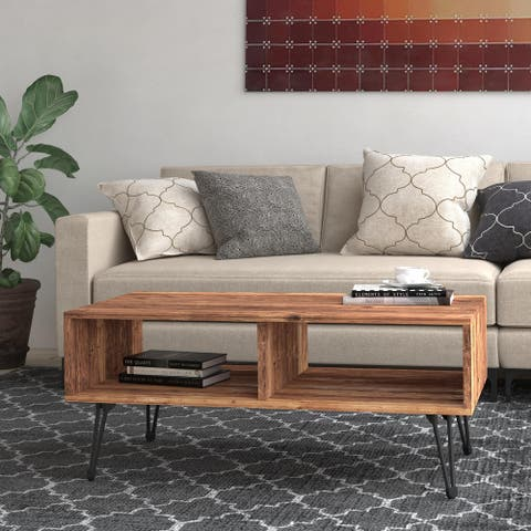 """Turner Reclaimed Solid Wood 42"""" Hairpin Leg Coffee Table"""