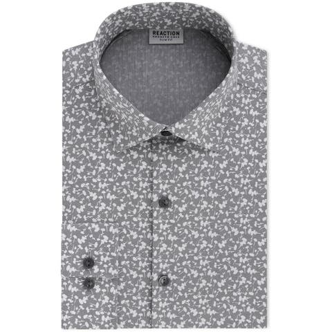 Kenneth Cole Mens Techni-Cole Button Up Dress Shirt