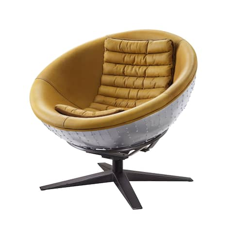 Metal Exterior Accent Chair with Leatherette Interior, Yellow and Black