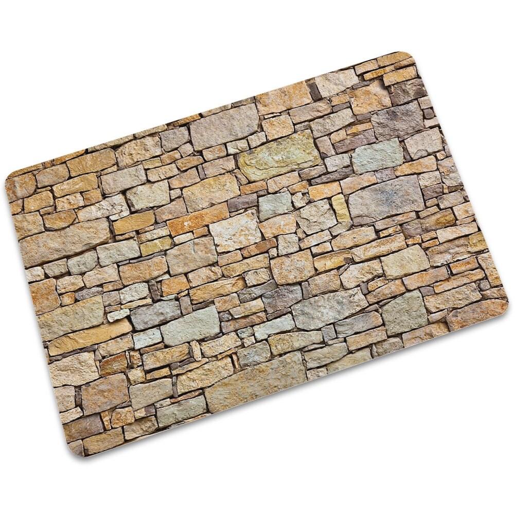 Shower Rug Stone Wall Wood Door Non-slip Door Bathroom Mat Home Floor Carpet