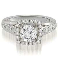 1.15 cttw. 14K White Gold Halo Round Cut Diamond Engagement Ring