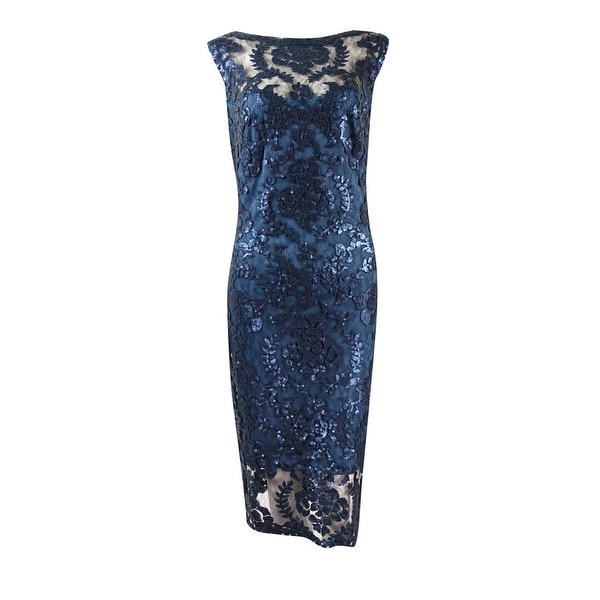 b9ace63f60e Shop Tadashi Shoji Women s Illusion Bateau Sequined Lace Dress - starry  night - 8 - Free Shipping Today - Overstock - 16655751