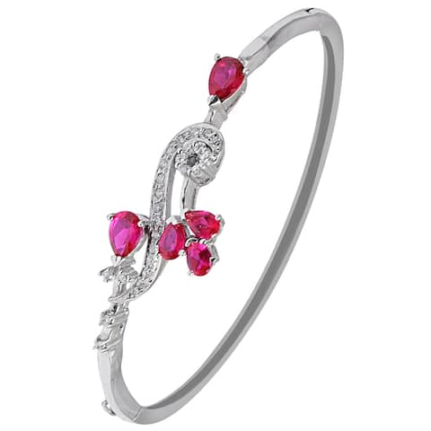 Cubic Zirconia Sterling Silver Pear Bracelet Bangles by Orchid Jewelry