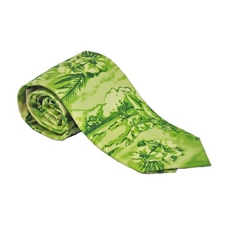 Tommy Bahama Men's Tonal Tropical Lime Green 100% Silk Tie Necktie
