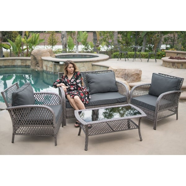 BELLEZE 4 Piece Patio Set Water Proof Fabric Cushions Wicker Set All  Weather Glass Table Outdoor