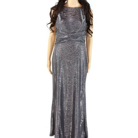 Lauren by Ralph Lauren Women's Dress Silver Size 16 Sheath Textured
