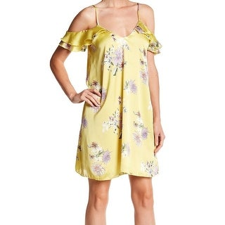 The Vanity Room NEW Yellow Womens Size Medium M Floral Shift Dress