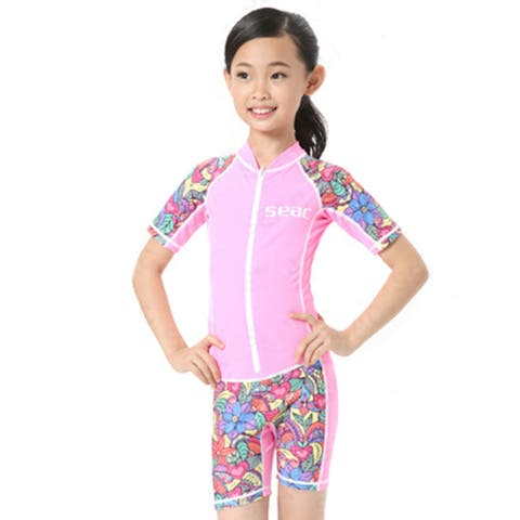 Child One-piece Diving Suit Wetsuit Surfing - Pink - 2