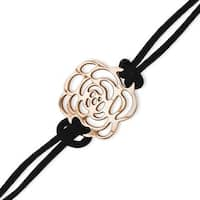Stainless Steel Rose Gold-plated Flower 7in with ext Bracelet