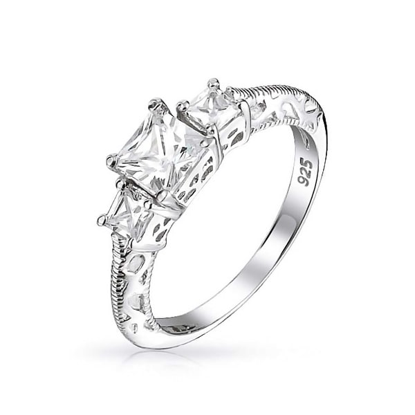 Bling Jewelry 925 Sterling Silver 3 Stone Princess Cut CZ Vintage