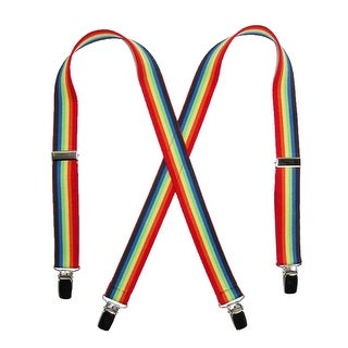 CTM® Kids' Elastic 1 Inch Wide Clip-End Rainbow Stripe Suspenders - One size