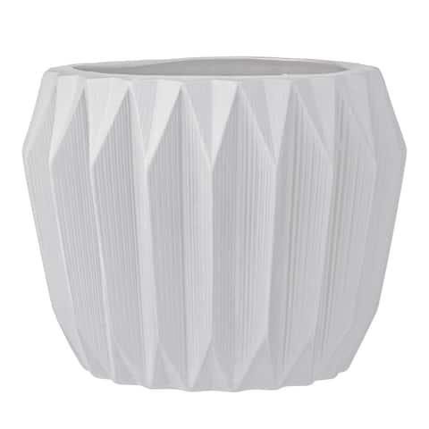 White Fluted Stoneware Flower Pot