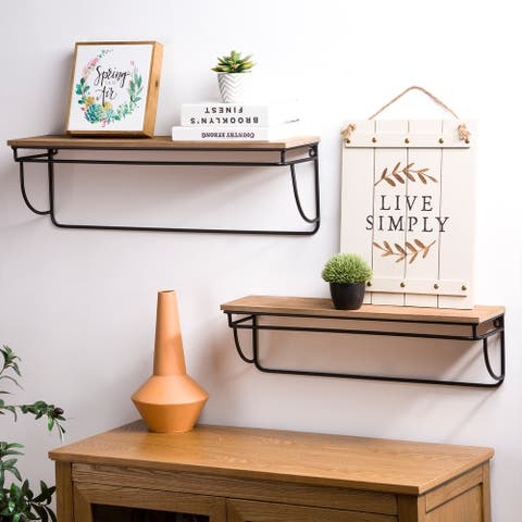 Glitzhome Set of 2 Firwood Metal Farmhouse Floating Wall Shelf