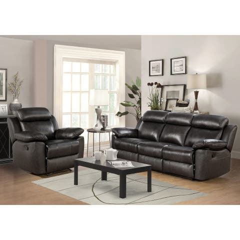 Abbyson Braylen Top Grain Leather Manual Reclining Sofa and Recliner Set