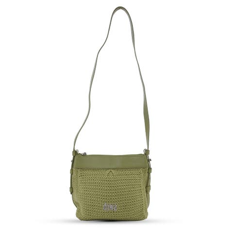 DOWA Beige Nylon with Leather Handwoven Crossbody Bag Fixed Strap - 8.66''x3.94''x8.66'' Inches