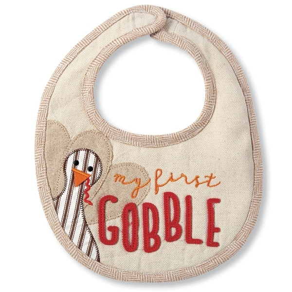 My First Gobble Turkey Thanksgiving Appliqued Baby Toddler Bib