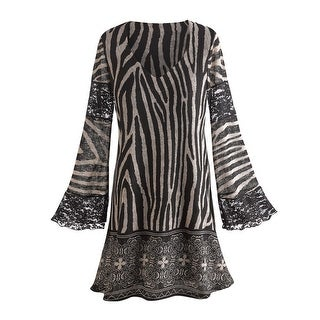 Women's Tunic Top - Zebra Print Bell Sleeve Blouse with Lace