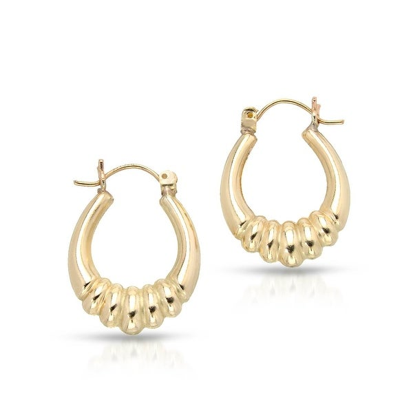 Mcs Jewelry Inc 10 KARAT YELLOW GOLD HOOP EARRINGS WITH DESIGN (22MM DIAMETER)