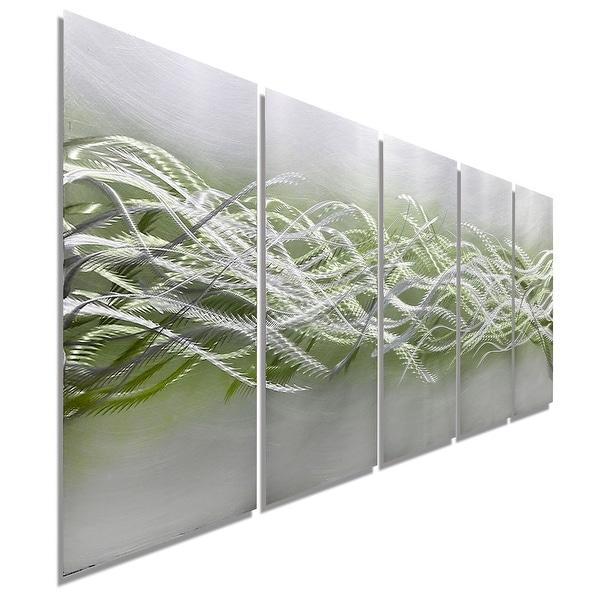 Statements2000 Green & Silver Modern Abstract Metal Wall Art Sculpture by Jon Allen - Blades of Spring