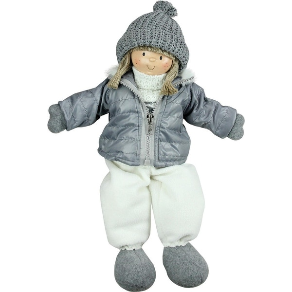 """16"""" Gray and White Cheerful Sitting Girl Christmas Tabletop Decoration"""