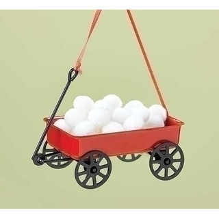 "2.5"" Red Wagon with Snowballs Christmas Ornament for Personalization"