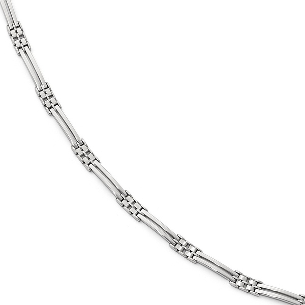 Italian 14k White Gold Polished and Brushed Men's Link Bracelet - 8 inches