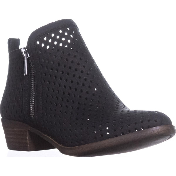 Lucky Basel3 Perforated Ankle Boots, Black Lugo - 6 us / 36 eu