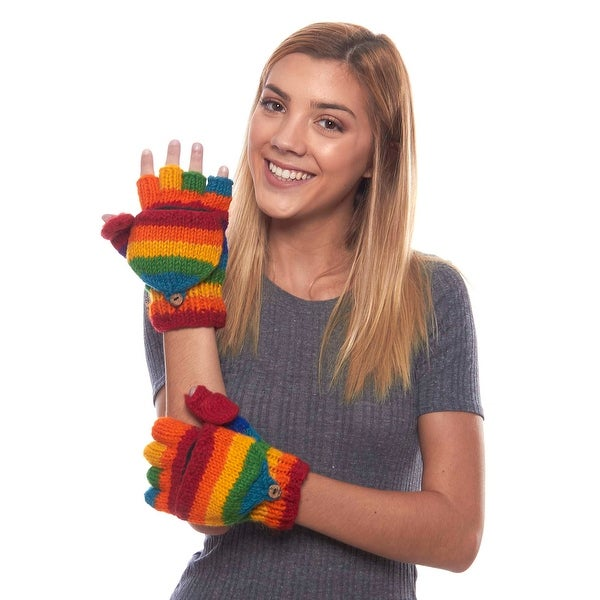 Rainbow Days Striped Fleece Lined Wool Convertible Mittens
