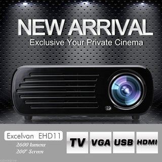 5.0'' 2600LM 1080P HD LED USB AV HDMI Multimedia Projector Home Cinema Theater
