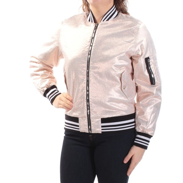 Shop Hudson Womens Gold Bomber Jacket Size M Free Shipping Today