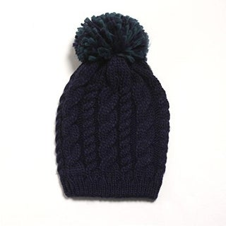 D&Y Womens Cable Knit Pom Pom Beanie Hat - o/s