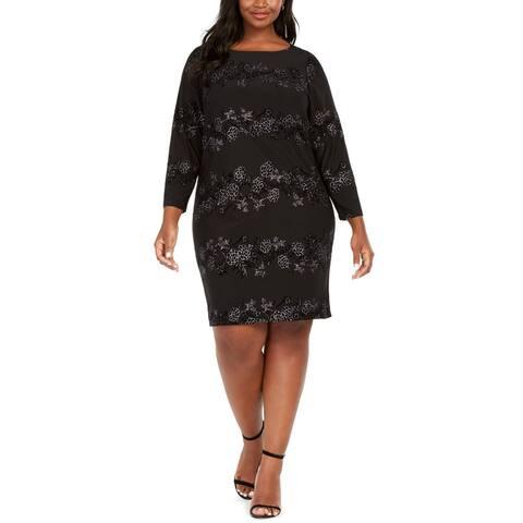 Jessica Howard Womens Shift Dress Black Size 16W Plus Sprakle Burnout