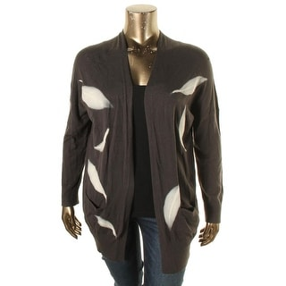 Bobeau Womens Plus Cardigan Sweater Textured Open Front
