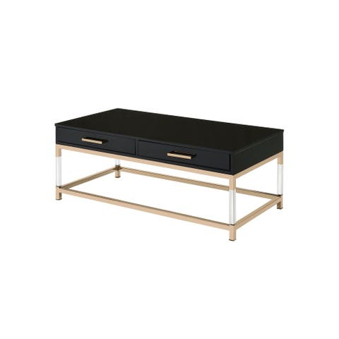 ACME Adiel Coffee Table in Black and Gold Finish