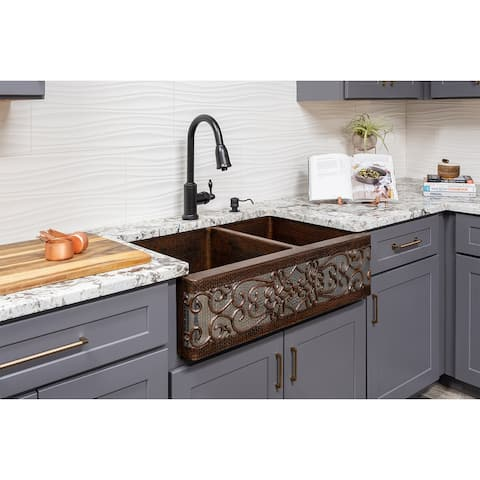 Premier Copper Products KSP2_KA60DB33229S-NB Kitchen Sink, Pull Down Faucet and Accessories Package