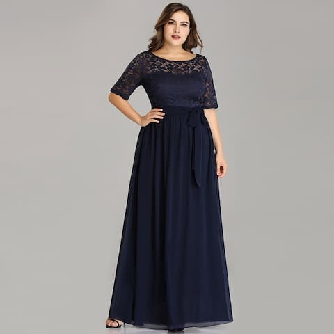 251c908d5a51 Ever-Pretty Women's Plus Size Lace Mother of the Bride Evening Party Maxi  Dress 07624