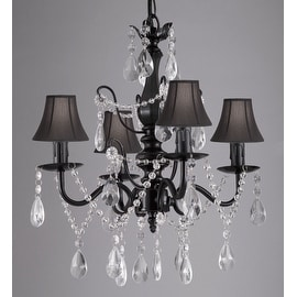 "Wrought Iron and Crystal 4 Light Black Chandelier H 14"" X W 15"" Pendant Fixture Lighting Hardwire and Plug In with Shades"