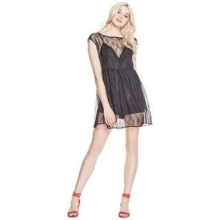 GUESS Hailey Lace Overlay Romper Dress Jet Black