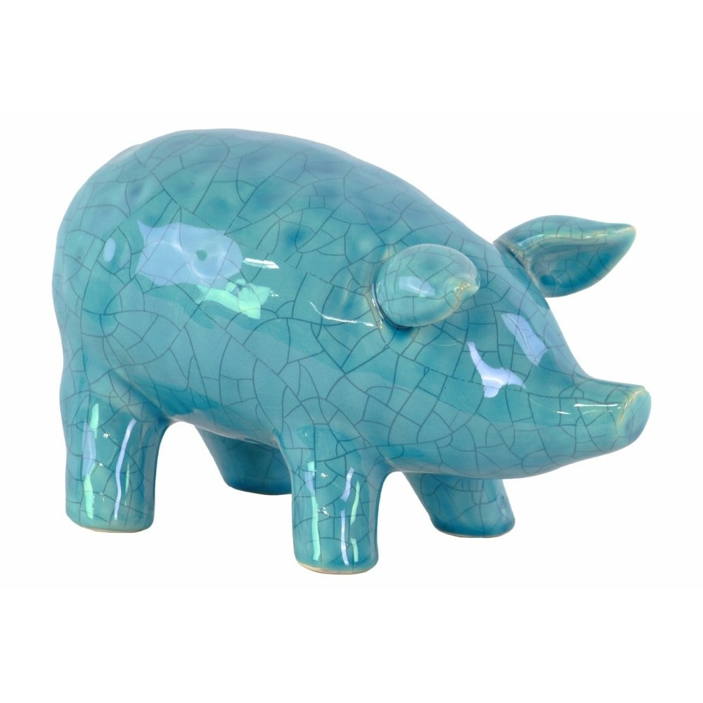 Ceramic Standing Pig Figurine with LG Gloss Finish, Blue