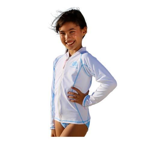 Sun Emporium Girls White Aqua Cover Stitch Long Sleeve Zip Jacket
