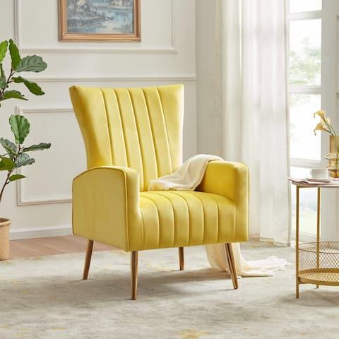 BELLEZE Kinsley Velvet Wingback Arm Chair w/ Metal Legs, 6 Colors - standard