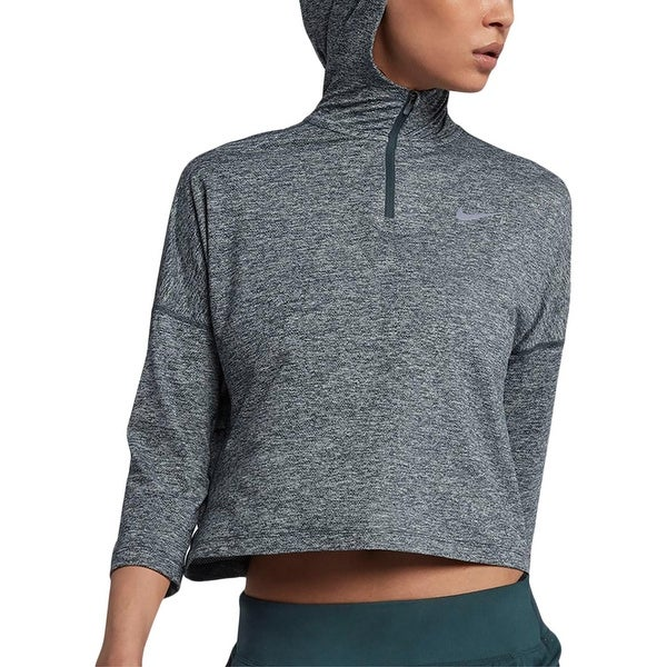 afe0007092feb Shop Nike Womens Dry Element Hoodie Cropped Running - Free Shipping ...