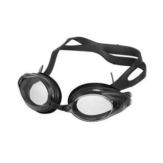 Unique Bargains Unisex Black Silicone Strap Swimming Goggles w Earplug + Nose Clips